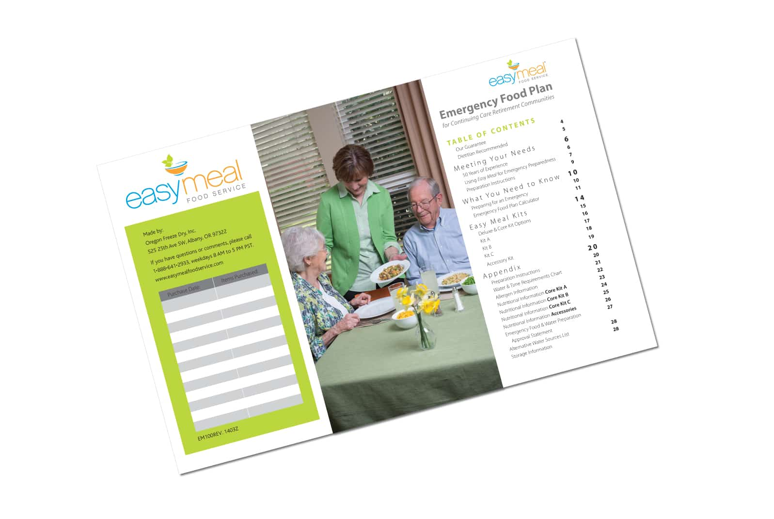 Table of Contents and Book Design for Easy Meal Food Service