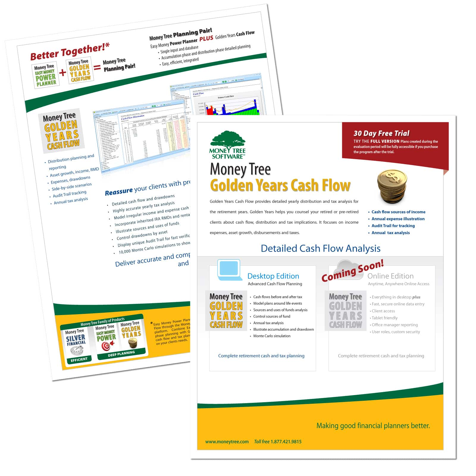 Graphic design of Golden Years Financial Planning Software Brochure