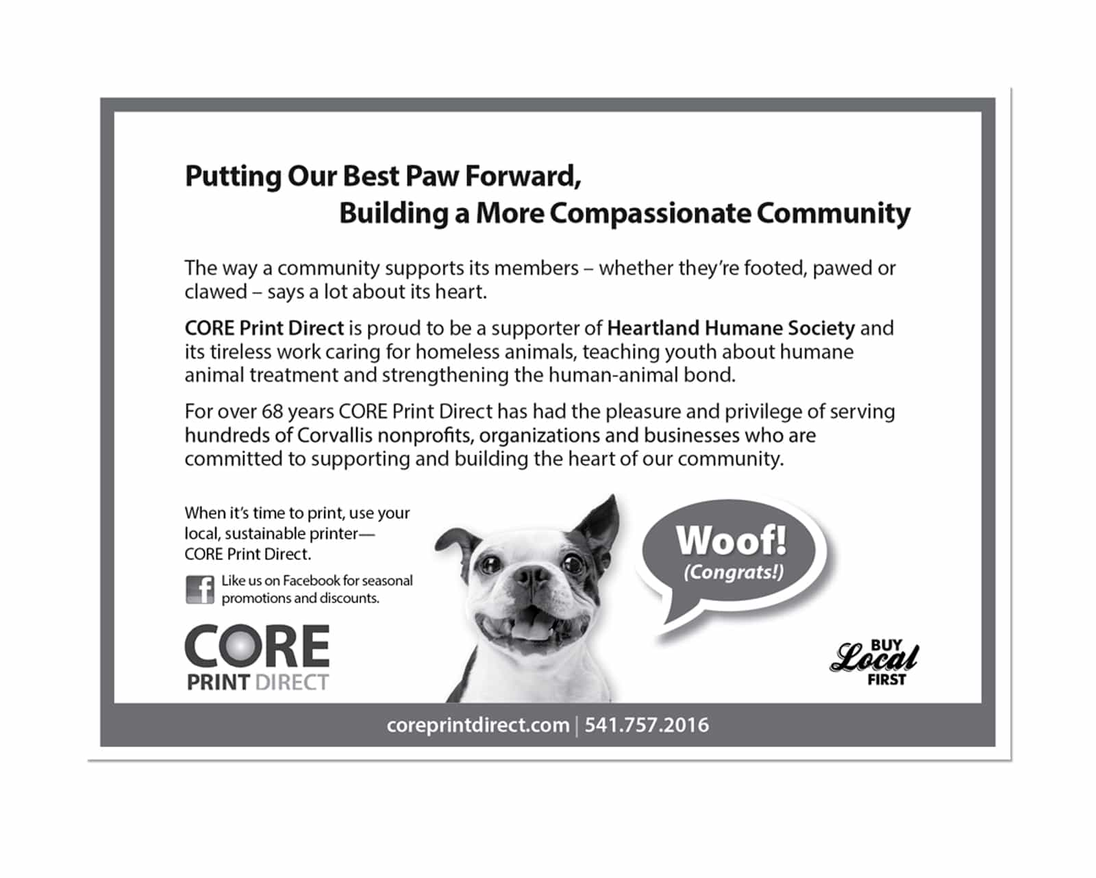 Graphic Design of Advertisement for Heartland Humane Society